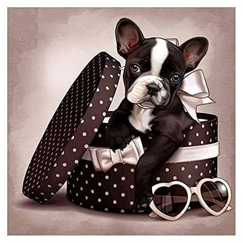 Diamond Painting Kits for Adults,French Bulldog in Gift Box Sunglasses DIY 5D Round Full Drill Art Perfect for Relaxation and Home Wall Decor 11.8x11.8 inch