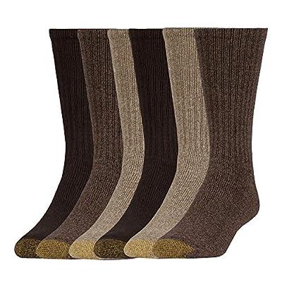 Gold Toe Harrington Crew, 6 Pairs, Taupe Marl/Khaki Marl/Brown, Shoe Size: Mens 6-12.5