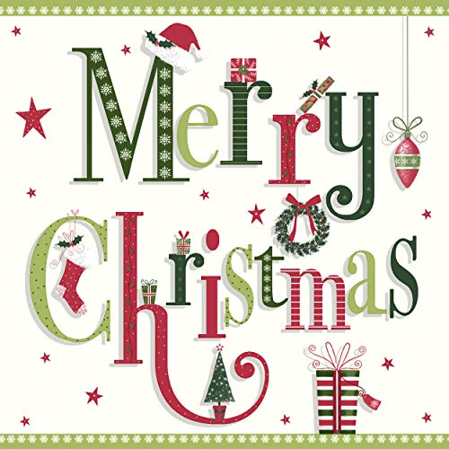Servietten (2er Set / 40Stück) 3-lagig 33x33cm Xmas Weihnachten Schriftzug Merry Christmas