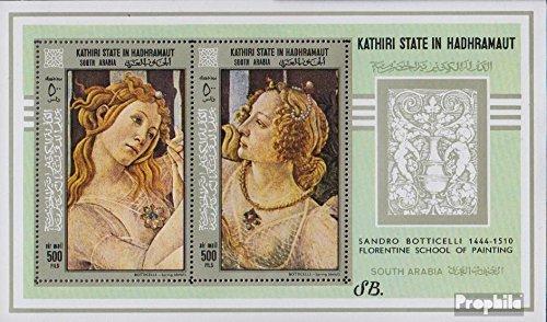 Prophila Collection Aden - Kathiri State Block18A (kompl.Ausg.) 1967 Gemälde von Botticelli (Briefmarken für Sammler) Malerei