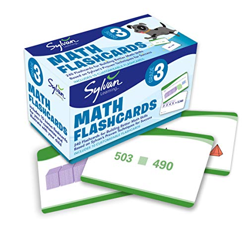 3rd Grade Math Flashcards: 240 Flashcards for Improving Math Skills (Place Value, Comparing Numbers, Rounding Numbers, Skip Counting, Multiplication & ... Fractions, Geometry) (Sylvan Math Flashcards)