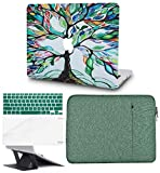 KECC Laptop Case for MacBook Air 13' w/Keyboard Cover + Sleeve + Screen Protector + Laptop Stand (5 in 1 Bundle) Plastic Hard Shell Case A1466/A1369 (Colorful Tree)