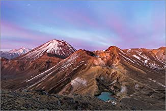 Posterlounge Cuadro de Madera 100 x 70 cm: Awesome Sunrise on Mount Ngauruhoe and Red Crater, Tongariro Crossing, New Zealand de Matteo Colombo