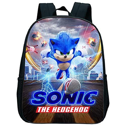 XINKANG Sonic The Hedgehog 12 Inch Sonic Kindergarten School Backpack Child Baby Toddler bag Kids Sonic Backpack Back to School Cute Cartoon Gift
