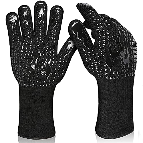 OTREJIA BBQ Gloves Heat Resistant Grill Gloves Silicone Non-Slip Kitchen Food Grade Oven Mitts Cooking Gloves for Barbecue, Cooking, Baking, Welding, Cutting,Black