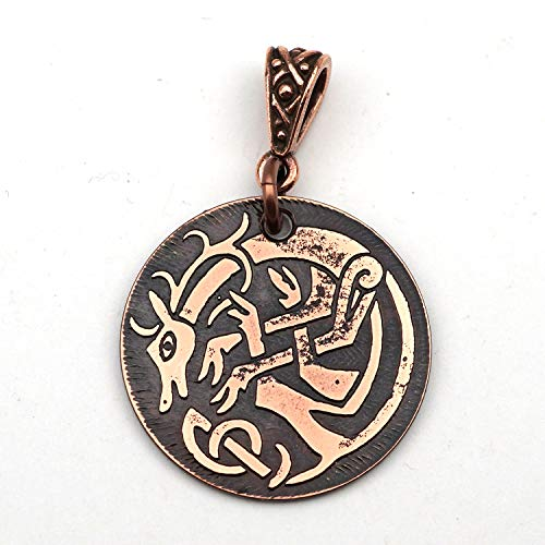 Round etched copper Celtic stag pendant 25mm