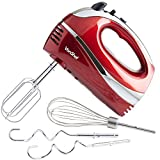 VonShef Hand Mixer Whisk With Chrome Beater, Dough Hook, 5 Speed and Turbo Button + Balloon Whisk 250w (Red)