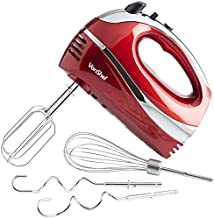 VonShef 5-Speed Hand Mixer - Electric 250W Hand-held Mixer with Turbo Boost Button & Stainless Steel Accessories (Chrome Beater, Dough Hook & Balloon Whisk) for Baking Cookies, Brownies & Cakes - Red