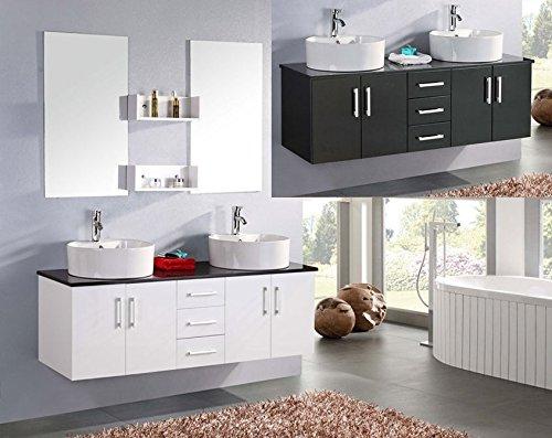 Bagno Italia Mobile Arredo Bagno Diana 150 cm doppio lavabo sospeso smaltato Bianco e Top in Cristallo Nero Mobili I