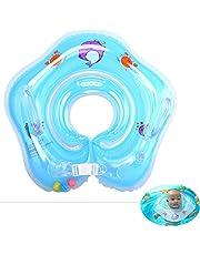 Baby zwembad float, zwemring, opblaasbare kinderen zwemmen float, baby zwemmende nek ring met klokken, kinderen zwemmende nek ring voor baby kinderen baby, voor leeftijd 0-3-Blue Chunxiaqiu