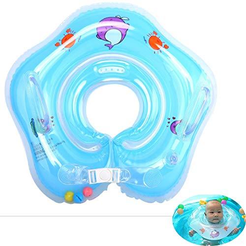 SYLCY Babypool-Schwimmer, Schwimmring, aufblasbare Kinder Schwimmen Schwimmer, Baby-Schwimm-Hals-Ring mit Glocken, Kinder-Schwimm-Hals-Ring für Baby Kinder Infant, für Alter 0-3-Blue