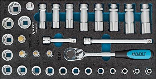 HAZET Steckschlüssel-Satz (Vierkant 10 mm (3/8 Zoll), Außen-Sechskant-Tractionsprofil, Innen-Sechskant Profil, Anzahl Werkzeuge: 33) 163-483/33