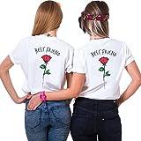 Best Friends Sister Tshirt für Zwei Damen Best Freund Shirts mit Rose Tops Sommer Oberteil BFF Geburtstagsgeschenk 2 Stücke Symbolische Freundschaft (weiß+weiß,S+M)