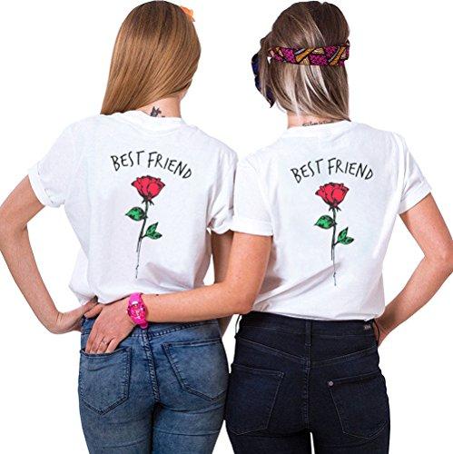 JWBBU Migliori Camicie Amici Sorella Amico Due Signore con Rose Top Estate Guscio BFF Regalo di Compleanno Pezzi Amicizia simbolico (Bianco + Bianco, S S)