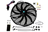 A-Team Performance 140041 16' Heavy Duty 12V Radiator Electric Wide Curved S Blade FAN & Thermostat Kit, 3000 CFM Reversible Push or Pull with Mounting Kit
