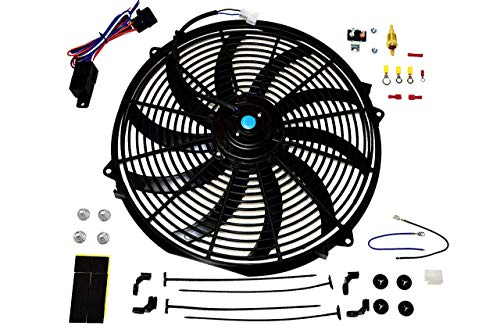 """A-Team Performance 16"""" Electric Radiator Cooling Fan Wide S-Curved 10 Blades Thermostat Kit 3000 CFM Reversible Push or Pull with Mounting Kit Heavy Duty 12 Volts"""