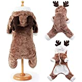 BulzEU- Cute Dog Christmas Clothes Hoodie Winter Warm Reindeer Deer Elk Pet Costume Coral Fleece Coat for Cats & Dogs Puppy Xmas Fancy Dress for Teddy, Yorkshire Terrier, Chihuahua