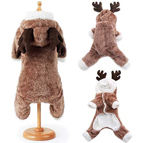 BulzEU Süßer Hund Weihnachten Kleidung Hoodie Winter Warm Rentier Hirsch Elch Haustier Kostüm Coral Fleece Mantel für Katzen & Hunde Welpen Weihnachten Kostüm für Teddy, Yorkshire Terrier, Chihuahua