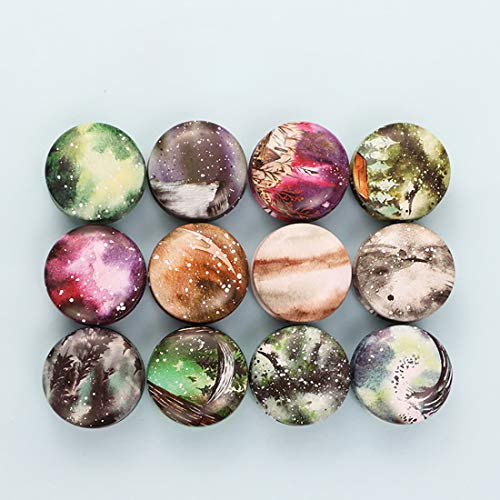 FineInno 12PCS Petite Boite de Rangement Candy Box Pot de bougie Boite Metallique Vintage en Fer Ronde a Bijoux,Boite Biscuits Avec Couvercle (Art)