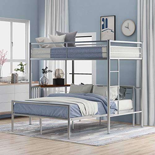 Creativem Twin Bunk Bed, Bunk Bed for Kids with Desk Guard Rail and Ladder Modern Style Space-Saving Easy Assembly Full Size Bunk Bed for Bedroom, Dorm, Boys, Girls
