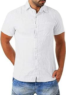 FONMA Men's Baggy Cotton Blend Pocket Solid Short Sleeve Turn-Down Collar T Shirts
