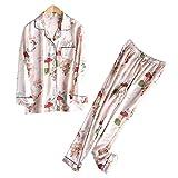 NVYISHUI Pijamas Mujeres Primavera y Otoño Traje de Dos Piezas de Seda de Hielo Traje de Servicio a Domicilio Sección Delgada Pijama Impreso Mujeres Mangas Largas