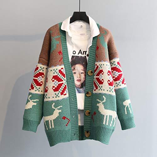 FDJIAJU Pull Tricoté Femme,Veste Cardigan Lâche Femme Automne Et Hiver Pulls De Noël Moche Red Deer Mode Jacquard Rétro Cardigan Tricoté Pulls, Vert, Un, Taille