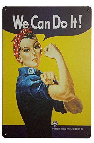 "ERLOOD Pin-up Girl We Can Do It Metal Retro Wall Decor Vintage Tin Signs 12"" X 8"" Inches"