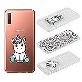 [3 Pack] Funda Samsung Galaxy A7 2018, Weideworld 3D Patrón Flexible Ultra Slim TPU Silicona Back Carcasa Funda para Samsung Galaxy A7 2018, Unicornio