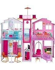 Barbie DLY32 ESTATE trzyczęściowy dom miejski kolorowy i jasny domek dla lalek w zestawie z meblami i akcesoriami, zestaw do zabawy