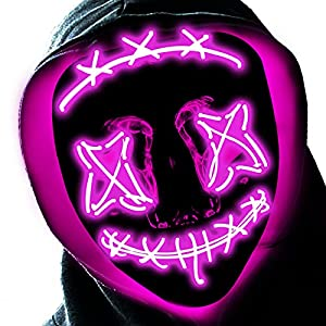 Halloween LED Mask, Light up Scary Glowing Mask for Kids Adults Festival Cosplay Halloween Costumes Party Supplies (Pink)