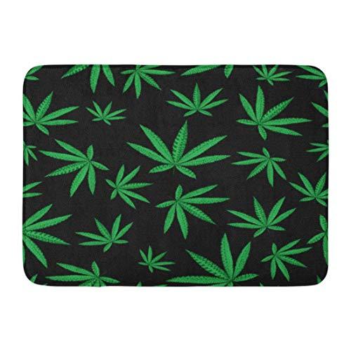 Yilan Fußmatten Bad Teppiche Outdoor/Indoor Türmatte Hanf Cannabis Blatt in Zentangle Marihuana Silhouette Hippie Ornamental Rastafarian Tattoo Hippie Badezimmer Dekor Teppich Badematte
