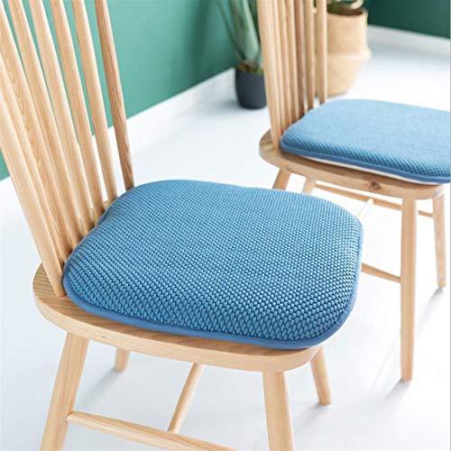 GTD-Cojines para Exterior, Cojines de Asiento, Cojines de Asiento Almohadilla para jardín Interior Patio de jardín Cocina Sillas de Oficina Conjunto de Cojines de 2 sillas, 40x40 cm (Color : Blue)