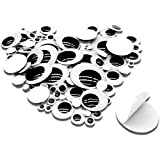 TOAOB 100pcs Black Plastic Googly Wiggle Eyes Self-Adhesive Round 6mm to 35mm Mixed Assorted Sizes Sticker Eyes for DIY Crafts Scrapbooking Decoration