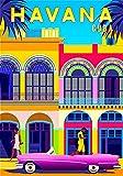 Poster vintage in latta con paesaggio urbano dell'Avana Cuba tradizionale case caraibiche America latina retrò viaggio metallo segno 20 x 30 cm bar ristorante garage arte parete nuovo