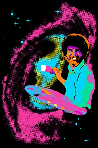 Bob Ross Blacklight Poster Classic Retro Trippy Flocked Felt Velvet UV Black Light Reactive Psychedelic Painting Galaxy Space Stars Funny Painter Cool Wall Decor 23x35 inch