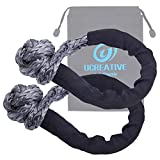 Ucreative Synthetic Soft Shackle 1/2 Inch x 22 Inch (41,000lbs Breaking Strength) with Extra Sleeves 2-Pack (Gray)