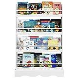 Librería Infantil para Niños Estantería de Pared Estantería Infantil Almacenaje para Libros Revistas con 4 Estantes Blanco 80x11.5x118cm