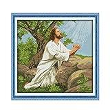 L.TSA 11CT Impreso en Tela Punto de Cruz Figura de Jesús Decoración Familiar Oración de Jesús Pinturas Decorativas Colgantes