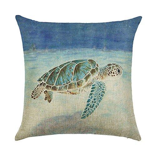 WEIANG Nautisches Kissenhülle Beach Ocean Life Schildkröte Krabbe Fisch Sea Horse doppelseitigen Drucken Dicke Baumwolle Leinen Quadratisch Kissenbezug 45cm x 45cm (18x 18) 14