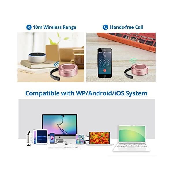 Portable Wireless Mini Speaker with Handsfree Call, Built-in-Mic and TF Card for iPhone, iPod, iPad, Phones, Tablet, Echo dot, Good Gift (Rose Gold) 6