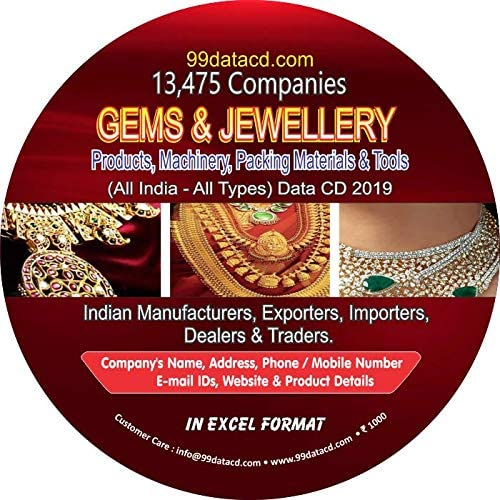 13 475 Companies Gems Jewellery Products Machinery Packing Materials Tools All India All Types Data In Excel Format