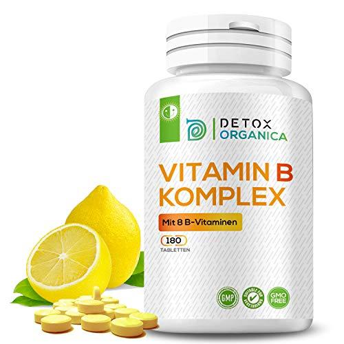 VITAMIN B KOMPLEX hochdosiert // 180 Tabletten für eine 6-Monats-Kur mit 8 Vitaminen (B1 B2 B3 B5 B6 B8 (Biotin) B9 (Folsäure) B12) // Vegan // Premium Qualität von Detox Organica