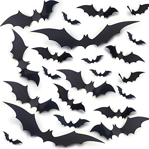 Halloween Bats Wall Decals 56pcs Bat Wall Stickers Halloween 3D Bats for Wall Decoration 4 Size