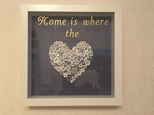 'Home is where the Heart is' Button Art Picture with 3D-effect