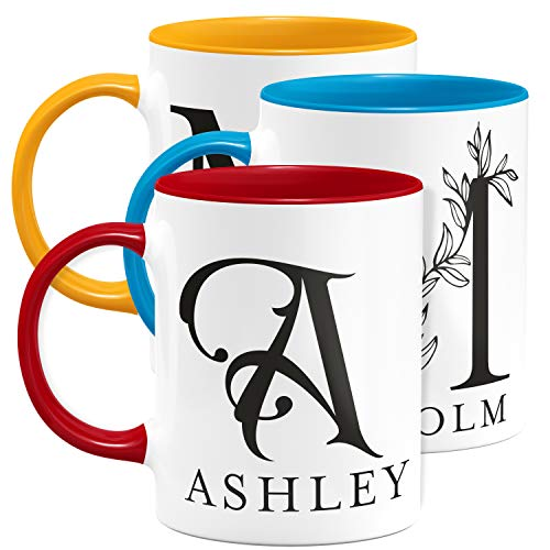 Initial 11 oz Coffee Mugs with Name, Custom - Red/White - Personalized Mugs for Women, Ceramic Coffee Mug Tea Cup for Office and Home Use, Perfect Monogram Gifting, Taza Personalizadas
