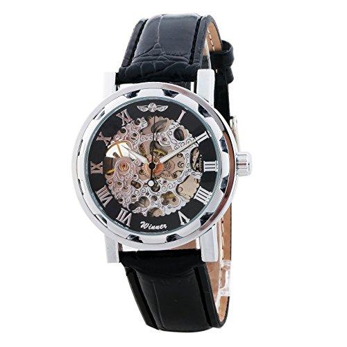 Winner Skeleton Reloj Dial Negro comecánico Auto Hombres