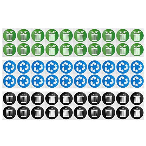 PBOHUZ Etiqueta de la Basura - Identificación Circular de la colección de Basura Reciclar la Etiqueta Etiqueta engomada del Cubo de Basura 60Pcs/Set