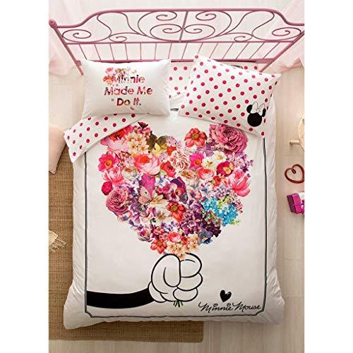 TAC Bettwäsche-Set, 100 % Baumwolle, für Doppelbett, Queen-Size-Bett, Bettdeckenbezug, Bettbezug, Kissenbezug, Micky Minnie Maus
