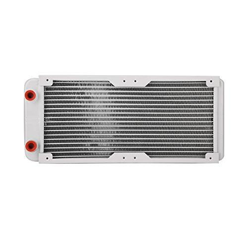 Bewinner G1/4 Radiador de Enfriamiento de Aluminio,Disipador de Calor por Agua Intercambiador de Calor Líquido, Capa Galvanizada y Aluminio,Antioxidante Enfriador de Refrigeracion(240mm)